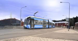 Raitiovaunu Pirkankadulla (Tampereen kaupunki/IDIS Design Oy)