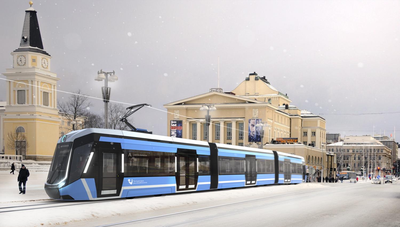 Raitiovaunu Keskustorilla (Tampereen kaupunki/IDIS Design Oy)
