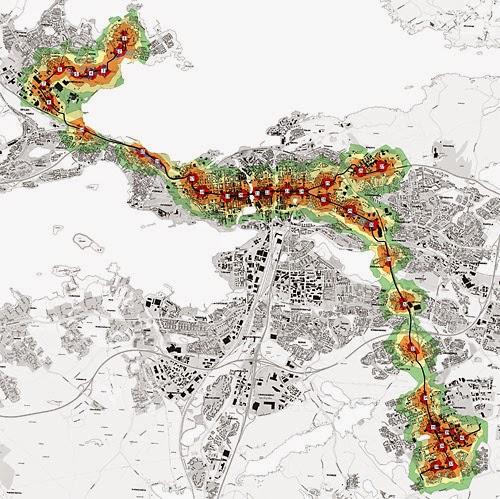 Valittu raitiotielinjaus ja pysäkkien kävelyetäisyydet 200 metrin välein. Enintään 800 metrin etäisyydellä (vihreä väri) asuu vuonna 2020 tamperelaisia 87.500, noin kolmannes Tampereen väestöstä. Kuva Tampereen kaupunki.