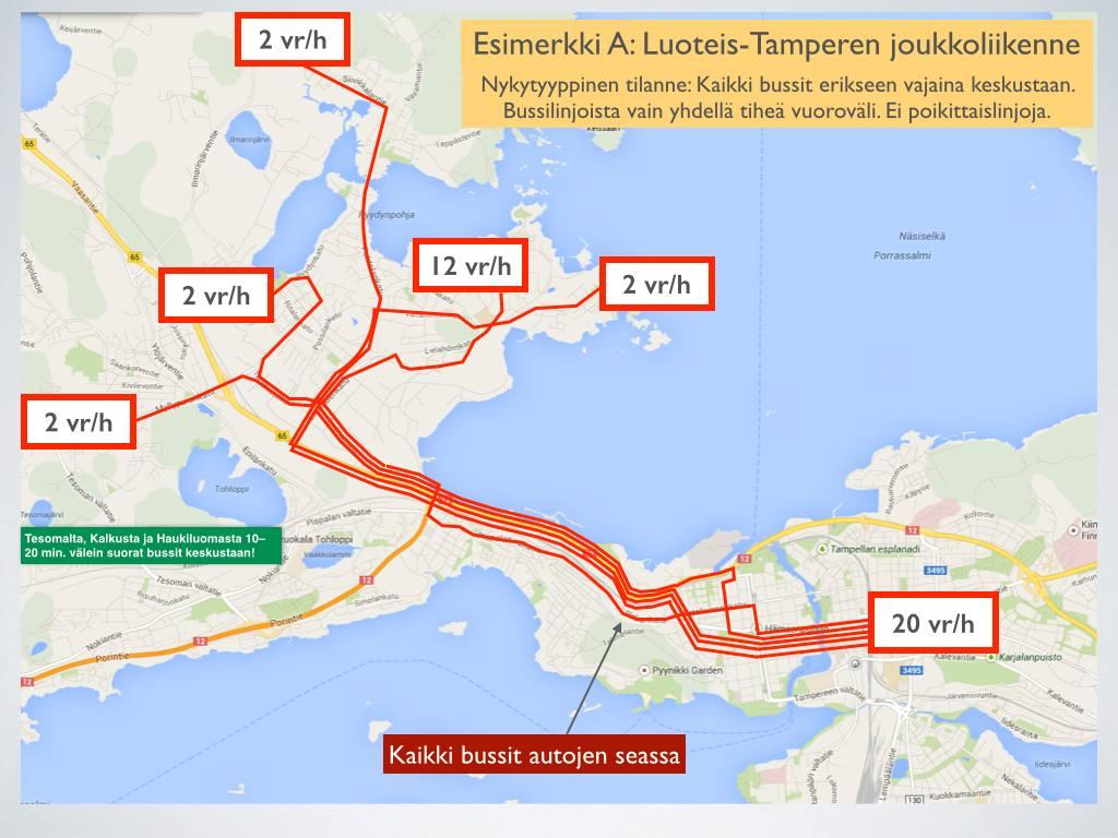 Luoteis-Tampereen joukkoliikenne nyt