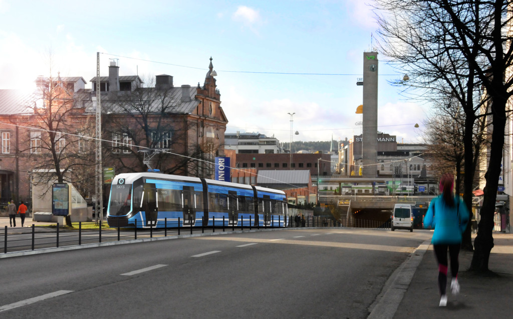 Havainnekuva raitiovaunusta Itsenäisyydenkadun mäessä rautatieaseman itäpuolella. Kuva Tampereen kaupunki / IDIS Design Oy.